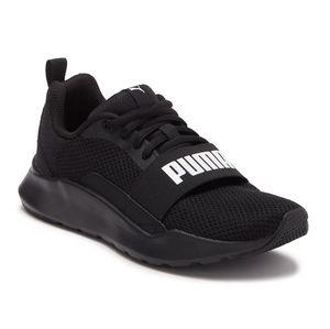 PUMA black mesh trainer sneakers